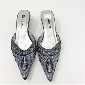 Restricted silver & blue sequins beaded mules